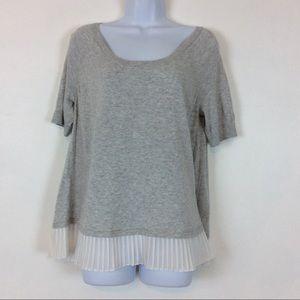 Torrid Cotton Gray White Ruffle Pullover Top